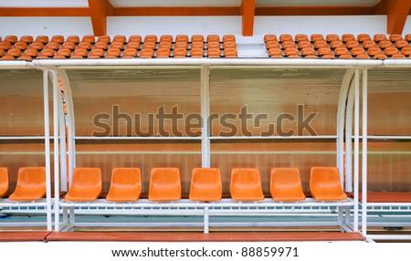 Reserve and staff bench in sport stadium in Thephasadin stadium, Bangkok, Thailand. - stock photo
