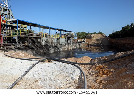 Reserve pit at a drilling rig