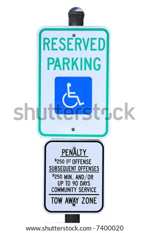 Reserved handicapped parking sign isolated against a white background - stock photo
