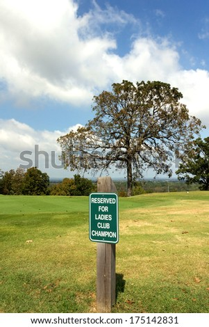Reserved parking at exclusive sports club for senior ladies champion - stock photo
