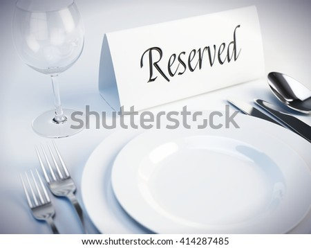 Reserved sign on a restaurant table - 3d render - stock photo