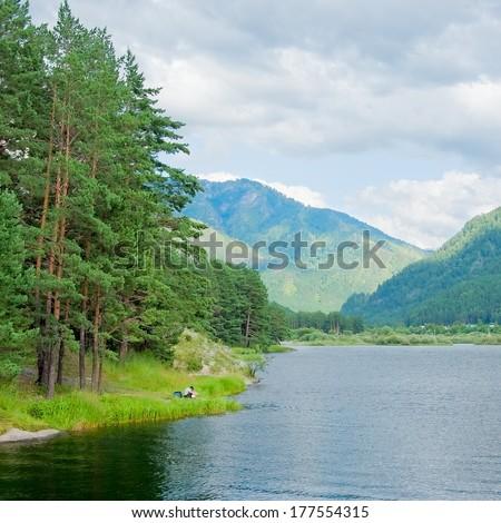 Reservoir at river Chemal. Altai, Siberia, Russia - stock photo
