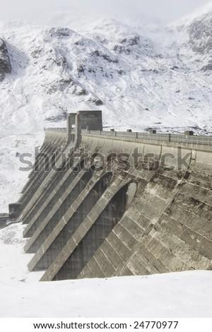 Reservoir dam - stock photo