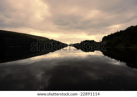 reservoir in the brecon beacons national park powys wales uk - stock photo
