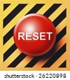 Reset button in red with white type on black and orange background - stock photo