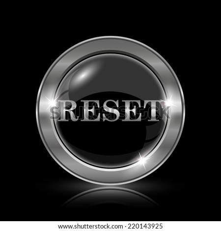 Reset icon. Internet button on black background.  - stock photo