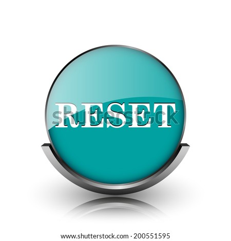 Reset icon. Metallic internet button on white background.  - stock photo