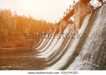 Reset water in the reservoir, sunny - stock photo