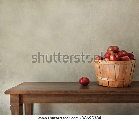 Resh apples on wooden table with lots of copy-space - stock photo