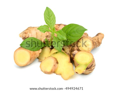 resh ginger isolated on a white background.