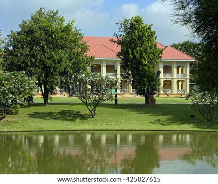 Residence building at the Bang Pa-In royal summer palace near Ayutthaya, Thailand - stock photo