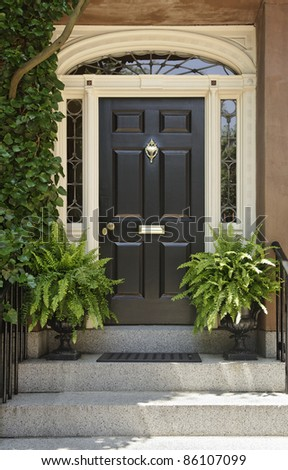Residence front entrance with elegant designs and decorative plants. Vertical shot. - stock photo