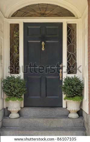 Front Door Black Front Door Stock Photo 570473239
