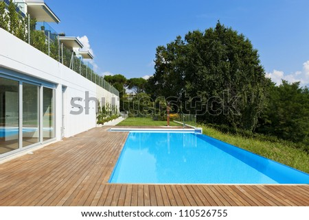 residence with swimming pool - stock photo