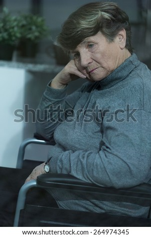 Resident of nursing home suffering for depression - stock photo