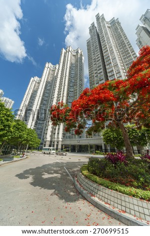 Residental buildings in Hong Kong - stock photo