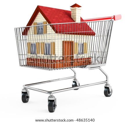 Residental house in a shopping cart. - stock photo