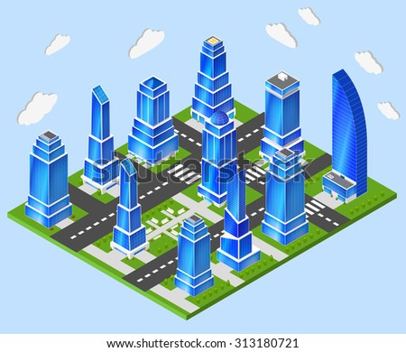 Residential and industrial downtown high rise tower buildings city center 3d block composition prototype model layout planning