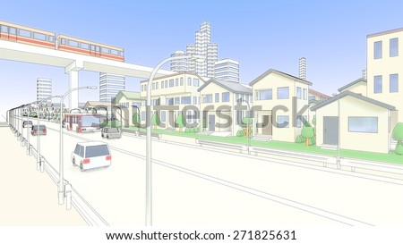 Residential and new transportation system and roadway - stock photo