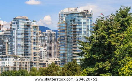 Residential area in Downtown Vancouver, British Columbia, Canada. - stock photo