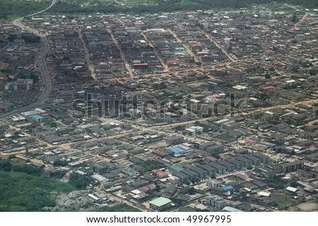residential area in Lagos nigeria aerial view - stock photo