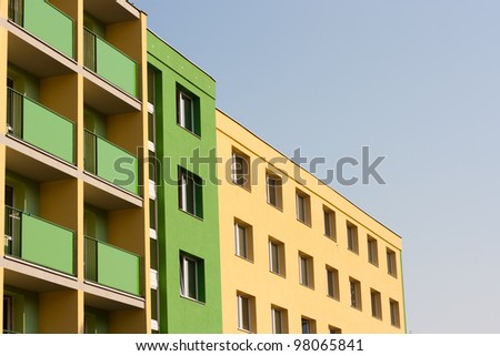 Residential background - dormitory on a lovely summer day - stock photo