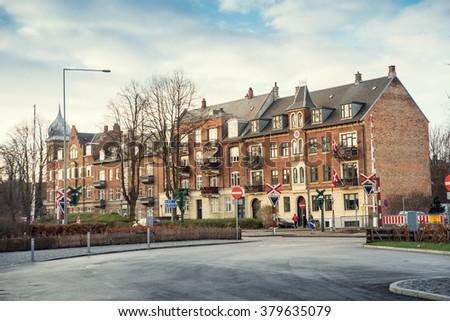 residential brick house  - stock photo