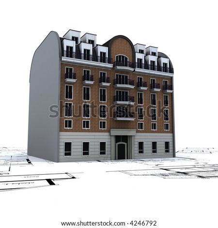 Residential building in bricks and stone on top of architect blue prints - stock photo
