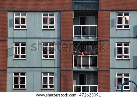 Residential building with blue walls. 07/23/2016