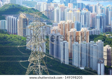 Residential building with powerline - stock photo