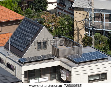 Residential building with solar panel installed