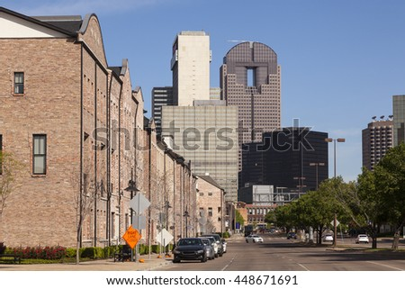 Residential buildings at the Farmers market square in the city of Dallas, Texas, United States