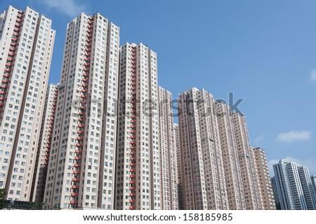 Residential buildings in Hong Kong - stock photo