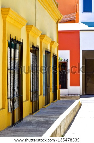 Residential colonial neighborhood - stock photo