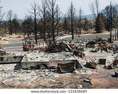 Residential community after Waldo Canyon Fire 2012 in Colorado Springs, Colorado.