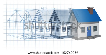 Residential development construction design and planning concept as a preliminary blueprint drawing sketch evolving to a finished built home as a housing industry symbol of architecture inspiration. - stock photo