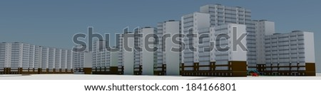 Residential district. 3d rendering on blue sky background