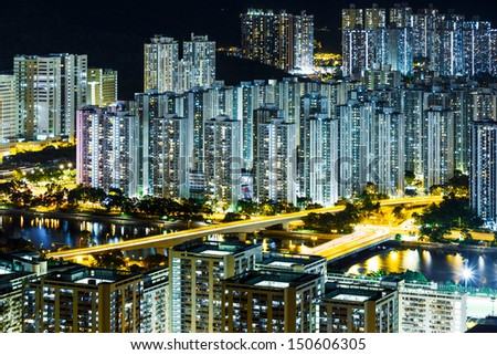 Residential district in Hong Kong at night - stock photo