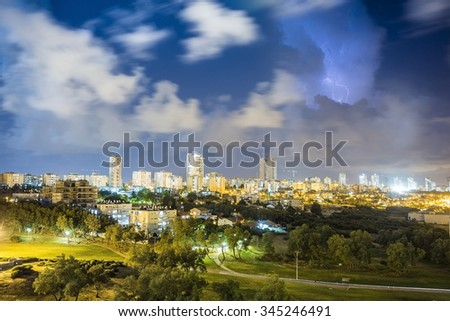 Residential district of Ashdod during storm, Israel - stock photo