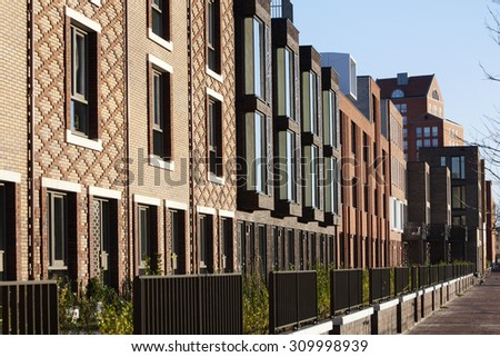 Brick Apartment Building Illustration. Residential district Rotterdam Crooswijk  the Netherlands A Brick Apartment Building Stock Images Royalty Free