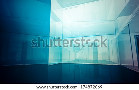 Residential.Empty office with columns and large windows, Indoor building. business space with blue light effects - stock photo