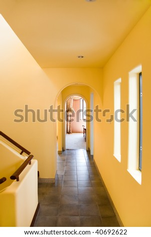 Residential entrance looking toward living room - stock photo