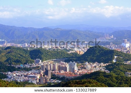 Residential high rises and apartment buildings in Neihu District, Taipei, Taiwan. - stock photo