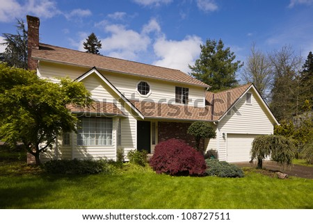Residential home.  Average american two story residential home.