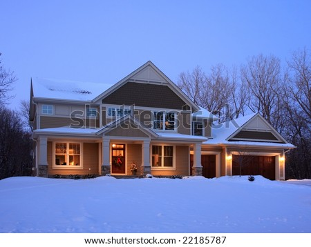 residential house at night - stock photo