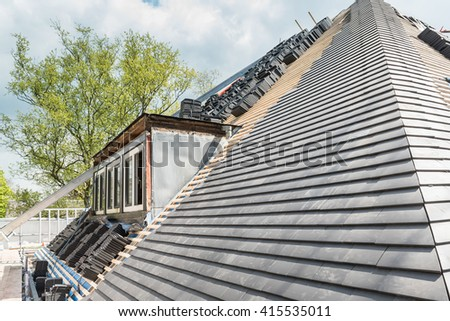 Residential house construction repair and renovation using modern materials and techniques / House renovation construction and repair - stock photo