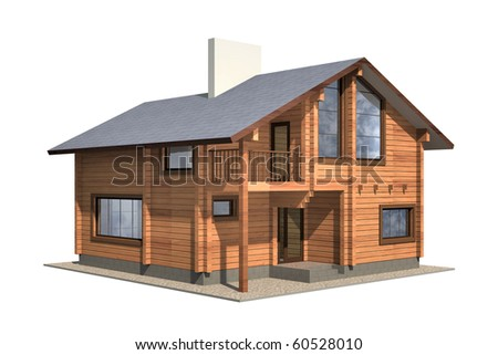 Residential house of wooden timber. 3d model render. Isolation on white background. Real estate - stock photo