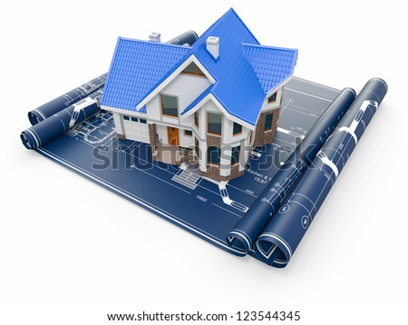 Residential house on architect blueprints. Housing project. 3d - stock photo