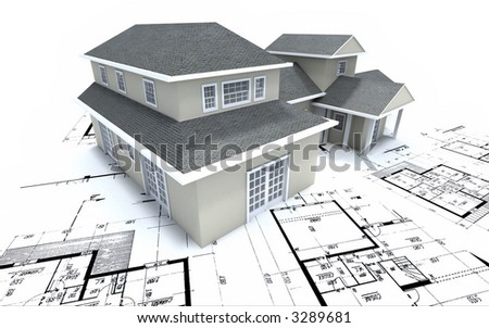 Residential House On Architect S Blueprints