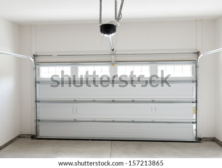 Residential house two car garage interior  - stock photo